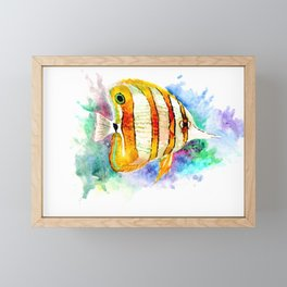 Coral Aquarium Fish, Angelfish yellow copper angelfish design aquatic coral reef Framed Mini Art Print