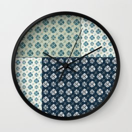 Vintage Tiles #society6 #pattern #indigo Wall Clock