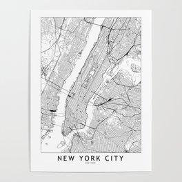 New York City White Map Poster