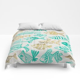 Inked Fish – Turquoise & Gold Comforters