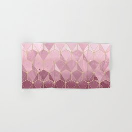 Pink gold geometric pattern Hand & Bath Towel