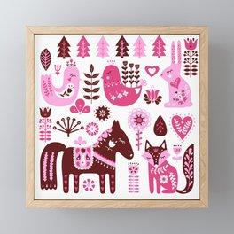 Raspberry And Cream Scandinavian Folk Art Forest Friends Framed Mini Art Print
