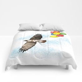 Hawk on his way to a party   Color Comforters