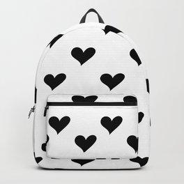 Retro Hearts Pattern Black White Backpack