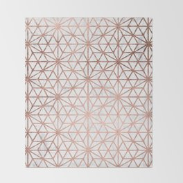 Modern rose gold stars geometric pattern Christmas white marble Throw Blanket