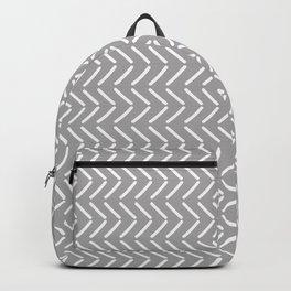 Herringbone pattern white and charcoal Backpack