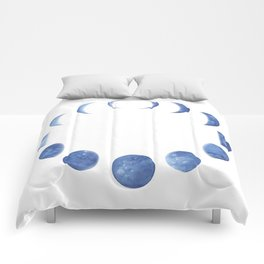 Blue Moon Phases | Watercolor Painting Comforters