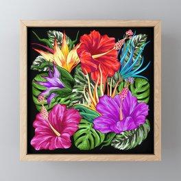 Tropical Flora Summer Mood Pattern Framed Mini Art Print
