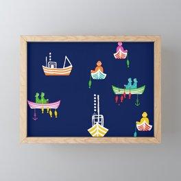 Scandinavian Fishing Boats Framed Mini Art Print