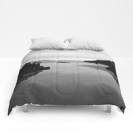 Kynance Cove in Black and White Comforters