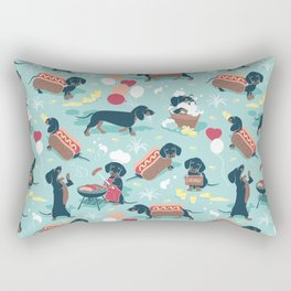 Hot dogs and lemonade // aqua background navy dachshunds Rectangular Pillow