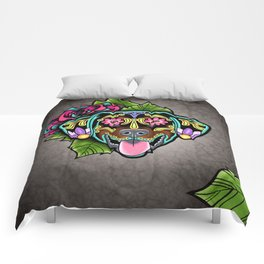 Doberman with Floppy Ears - Day of the Dead Sugar Skull Dog Comforters
