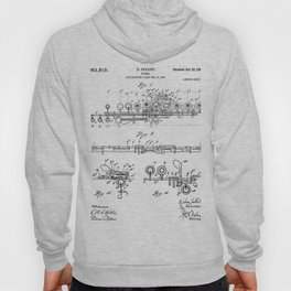 Flute Patent - Musician Art - Black And White Hoody