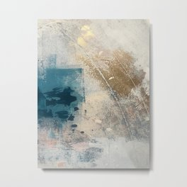 Embrace: a minimal, abstract mixed-media piece in blues and gold with a hint of pink Metal Print