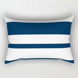 Mixed Horizontal Stripes - White and Oxford Blue Rectangular Pillow