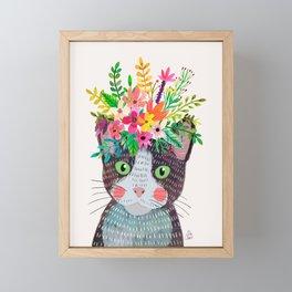 Cat with flowers Framed Mini Art Print