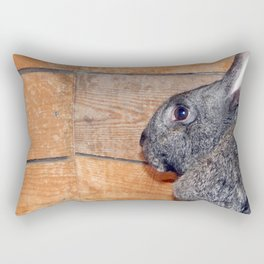 Rabbits in an open-air cage growing on a farm Rectangular Pillow