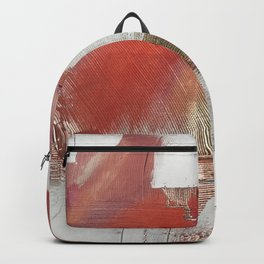 The Little Things: a minimal, abstract piece in reds and gold by Alyssa Hamilton Art Backpack
