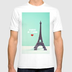Paris Je T'aime White MEDIUM Mens Fitted Tee