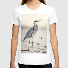 Great Blue Heron at the Beach White Womens Fitted Tee LARGE
