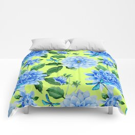 Modern blue lime punch watercolor dahlia floral pattern Comforters