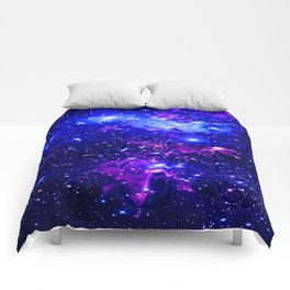 Fox Fur Nebula Galaxy blue purple Comforters