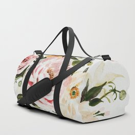 Loose Peonies & Poppies Floral Bouquet Duffle Bag
