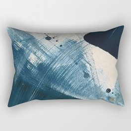 Against the Current [2]: A bold, minimal abstract acrylic piece in blue, white and gold Rectangular Pillow