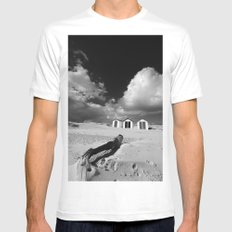 Southwold Beach huts Mens Fitted Tee MEDIUM White