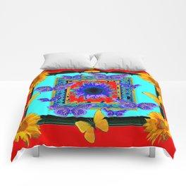 SOUTHWEST RED-BLUE BUTTERFLIES-SUNFLOWERS Comforters