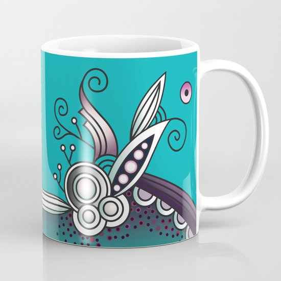 Ornate square zentangle, Celadon turquoise Mug