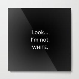 white: black Metal Print