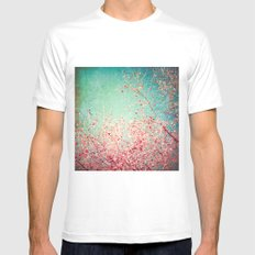 Blue Autumn, Pink leafs on blue, turquoise, green, aqua sky White Mens Fitted Tee MEDIUM