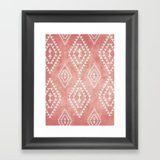 mint & coral tribal pattern (2) Framed Art Print