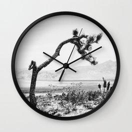 Crooked Cactus B&W // Desert Landscape Photograph Mojave Sierra Nevada Cacti Scenic View Wall Clock