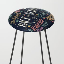 Back to school colorful typography drawing on blackboard with motivational messages, hand lettering Counter Stool