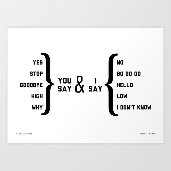Hello, Goodbye diagram Art Print