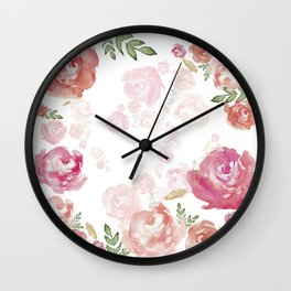 Peonies pink red flowers iPhone-galaxy case Wall Clock