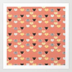 Kitties - Coral  Art Print