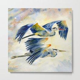 Flying Together - Great Blue Heron Metal Print