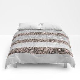 White Marble Rose Gold Glitter Stripe Glam #2 #minimal #decor #art #society6 Comforters