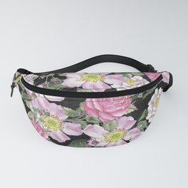 Vintage Rose Pattern Pink On Chalkboard Fanny Pack