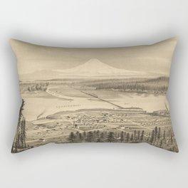 Vintage Pictorial Map of Tacoma Washington (1878) Rectangular Pillow