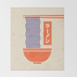 Ramen Japanese Food Noodle Bowl Chopsticks - Cream Throw Blanket