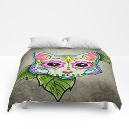 Grey Cat - Day of the Dead Sugar Skull Kitty Comforters