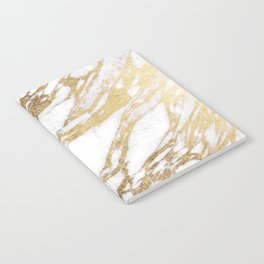 Chic Elegant White and Gold Marble Pattern Notebook