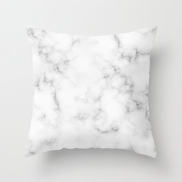 The Perfect Classic White with Grey Veins Marble Throw Pillow
