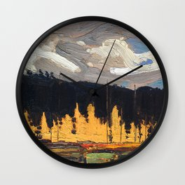 Tom Thomson - Tamarack Swamp - Canada, Canadian Oil Painting - Group of Seven Wall Clock