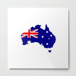 Australian Flag on Country Map Metal Print