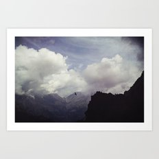 clouds over mountains Art Print